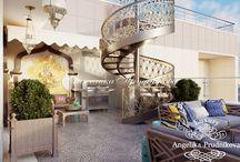 Дизайн террасы в восточном стиле / Дизайн данной террасы выполнен в изысканном восточном стиле и разработан студией Анжелики Прудниковой. Терраса занимает половину площади квартиры, поэтому необходимо было сделать её логическим продолжением других комнат. Приятные бархатные цвета и классическая мебель полностью передаёт дух восточного направления.