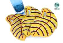 Yellow Leaf Shaped Coasters(set of 3)