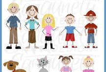 Sanqunetti kids & characters clipart / characters, kids, stick figure graphics clipart by Sanqunetti Design
