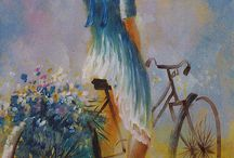 biciklis nő virággal