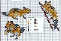 Cross Stitch-Squirrels, Chipmunks, and Mice.