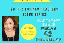 20 Tips for Success for New Teachers / I love to learn and grow and this board is meant to be a support to those of you new to the teaching profession. It's also meant to be a way for me to collaborate with YOU, virtually. This month of August 2016, I will be sharing a series on Periscope to bring this blog post to life. I hope you will join me!