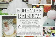 """Bohemian Rainbow Wedding shoot featured in """"Perfect Wedding"""" mag / A romantic bohemian Wedding Shoot in Ibiza using fruit and a rainbow of colours. Shot in October 2016 in Ibiza, Spain Styled & Coordinated by: La Fête Photography: The Galaxy's Edge Videography: AMS in Love Video Stationery: Alma Guëll Model: Blogger Gabriella Chydzik Hair & Makeup by: Jessie May Young Flowers: Flors Mercat Vell Ibiza Cake: Cup Cake Collection Ibiza Furniture: Remedios sin Receta Dress: Charo Ruiz"""