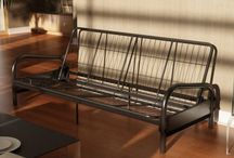Futons / futon frames, futon mattresses, and futon covers.  Modern contemporary functional style. easily convert from sofa to bed position.  Full-size futon mattress aka size double.