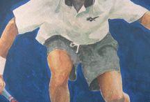 "Patrick Rafter (AUS) ""Detalles"" / Detalles de la Pintura Original. Ver tablero Tennis."