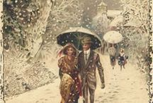 Old Winter/Christmas scenes / When winter and christmas were cosy. Enjoy the old comfy spirit of winter and christmas.