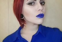 Gertrude Richter / Girl, @gertrude_richter, Red, blue, eyes, unusual, cool, tonnel, brow, Red hair, blue lips, lips, make-up, follow me, gohtic, punk, style, lifestyle, Black, sex, yellow, baby, Black style, Green, Green hair, curvy, chubby Girl, plus size, dreads, дреды, девушка, макияж