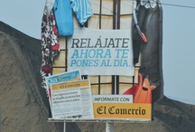 Peru / Advertising signs along the Panamericana Sur in Peru.