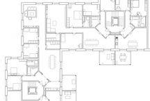 Ark_bolig.plan:sentrisk / Bolig planer med sentrisk organisasjonsprinsipp og vertikal formidling i midten.