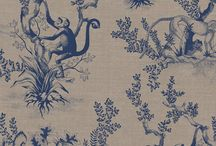 Cymepaye Toile De Jouy - The Curator Collection / The very first fabric pattern we ever designed, Cymepaye Toile de Jouy was conceived as an edgy interpretation of the French #ToiledeJouy style.  Featuring original illustrations of monkeys from an antique encyclopaedia worked into a new pattern of leaves and branches drawn around them to create a pattern full of character and personality.   #interiors #fabricinspiration #interiordesign