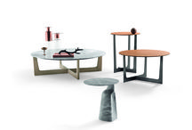 News 2015 - ILARY, design Jean-Marie Massaud / A range of five side tables of different heights, shapes and constructions. A mixture of finishes and materials, to create different effects and combinations.
