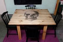 DEATH BY DINNER / Dinner table set built from scratch using pine pallets.  Skull insert.