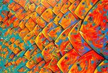 Poissons peinture toile