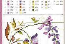 kwiaty, kwiatuszki - haft krzyżykowy