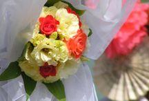 LAZAC / Esküvői dekoráció lazac, bézs és barack színű kiegészítőkkel