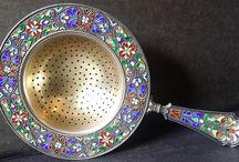 Silver enamel tea strainers