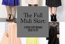 Women Fashion:Midi Skirt Looks for Spring/Summer