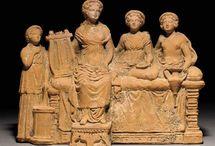 Greek art Terracotta figurines Classic hellenistic period / Greek terracotta figurine - Greek terracotta statuette - Greek classic figurine - Hellenistic figurine - Greek theater actor - Greek pottery statuette - Greek terracotta head  - Greek votive - Greek pottery bust - Demeter - Roman wolf