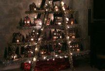 Anne's  christmas village ladder