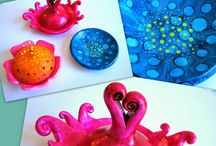 FIMO nápady - akrylové barvy, inkousty, atd.