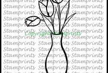 Stamprints Digital Stamps / Hand-Drawn Illustration & Vintage Digital Stamps & Collage Sheets