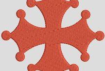 La vie spirituelle en broderie / vierges, Sacré Coeur, dizainier, saints, médailles de fêtes religieuse, neuvaine