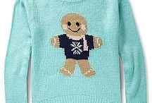 Christmas sweaters, shirts, socks and etc