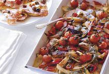 geroosterde groente met basilicum saus