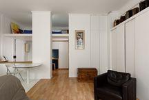 Appartement A / Rénovation partielle d'un appartement de type studio. Création d'une mezzanine au dessus de l'entrée avec escalier, bureau, dressing d'entrée, rangement bureau ....