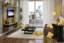 Sala E Tv Marrom Amarelo