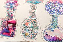 cristal gems e flores