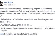 Will Smith Denies Divorcing Jada (See His Facebook Post)
