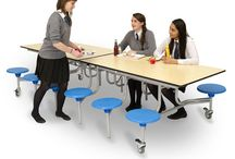 Mobile Dining Furniture for Schools / Mobile dining room furniture for schools, available in a range of height, seating options and colours. Ideal for school canteens  if space is an issue, can be folded in half and stored away with ease.