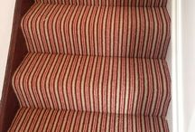 Red And White Striped Stair Carpet / Client: Private Residence In West London Brief: To supply & install carpet to stairs.