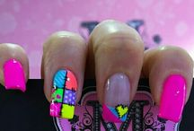 Neon colored nails