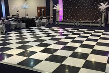 Black & White Dance Floor Hire / Black and White Dance Floors are perfect for both wedding receptions and corporate events and look idea with our starcloth backdrop.  #dancefloor #wedding #party