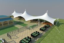 Tensile Structures / Using tensile fabric for the creation of large, free span roofs reduces the amount of supporting steelwork required, making construction easier, more affordable and quicker to install than traditional building designs.  http://www.tensilefabricstructure.com/