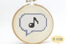 haft krzyżykowy muzyczne