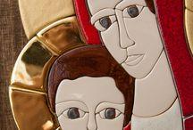madonna / Madonna is original handmaded porcelain mosaic set in wood. It is 45cm high.
