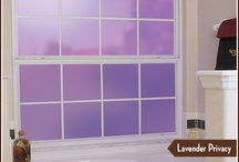 """Decorate with the Color Lavender / We love the 2014 Pantone Color of the Year """"Radiant Orchid"""".   If your looking for a fun and easy way to add this color to your home or office, try our Lavender static cling films for windows and glass doors or one of the Leaded Glass designs with Sapphire Lead Lines, or Biscayne and Cambridge III Stained Glass designs."""