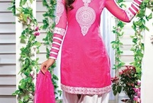 Cotton ready made Suit   / Pink cotton kameez is embellished with resham and patch border. Contrasting white salwar  and matching dupatta.