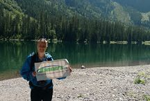 """Backpacking with Banners / As part of our Wellness Committee at Banners.com, we have started a """"Backpacking with Banners"""" program to encourage our employees to get active outdoors. We have a few banners that our employees are able to take with on their adventures."""