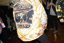 Backstage at the Moschino F/W17 Menswear and Women's pre-collection fashion show