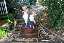 Outside Play Spaces and Ideas / Nature Play, Play outside, Nature Children, Reggio Inspired, Natural Learning, Mud Kitchen, Setting up an outdoor play space, Play spaces, Barefoot children, Natural Playground.