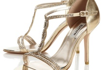 Gold leather diamanté leather shoes