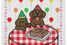 Labrador Retriever Birthday Products! / Cute and sweet Labrador Retriever Birthday Cards and Stickers and more for Labrador People by HappyLabrador.com