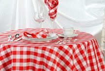 Checks, Stripes, and Plaid Tablecloths / We have several checks, plaids and striped fabrics to offer on our custom made tablecloths.