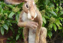 Tynskis needle felted hares.