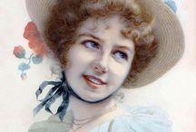 Women on vintage postcards & Illustrations