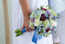 blue and lavender bridal bouquets and centerpieces
